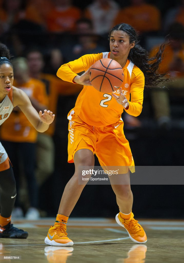 Tennessee Lady Volunteers guard Evina Westbrook (2) passes the ball during a game between the Texas Longhorns and Tennessee Lady Volunteers on December 10, 2017, at Thompson-Boling Arena in Knoxville, TN. Tennessee defeated Texas 82-75.