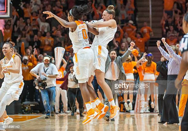 Tennessee Lady Volunteers guard Jordan Reynolds and guard/forward Kortney Dunbar celebration after a game between the Notre Dame Fighting Irish and...