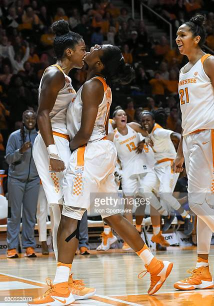 Tennessee Lady Volunteers guard Jordan Reynolds chest bumps Tennessee Lady Volunteers guard Diamond DeShields after a big play during a game between...