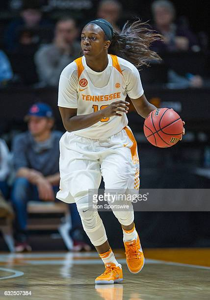 Tennessee Lady Volunteers guard Meme Jackson dribbles around the perimeter during a game between the Vanderbilt Commodores and Tennessee Lady...