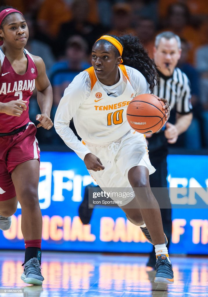 Tennessee Lady Volunteers guard Meme Jackson (10) pushes the ball up the court during a game between the Tennessee Lady Volunteers and Alabama Crimson Tide on February 15, 2018, at Thompson-Boling Arena in Knoxville, TN. Alabama defeated the Lady Vols 72-63.