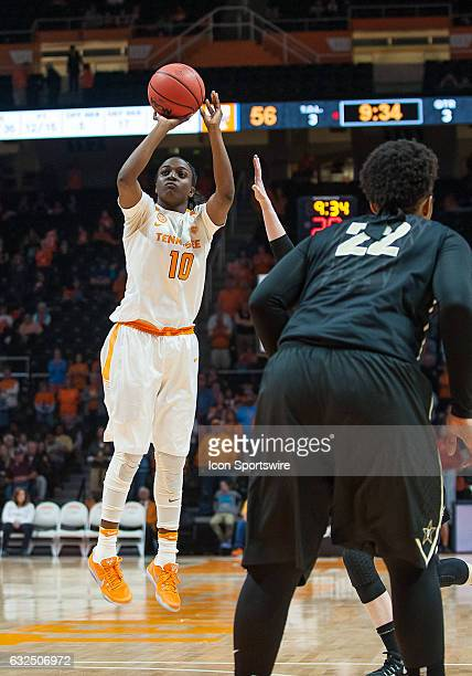 Tennessee Lady Volunteers guard Meme Jackson takes a shot during a game between the Vanderbilt Commodores and Tennessee Lady Volunteers on January 22...