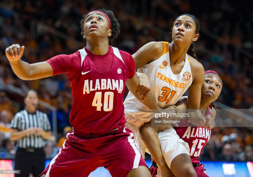 Tennessee Lady Volunteers guard/forward Jaime Nared (31) and Alabama Crimson Tide forward Jasmine Walker (40) fight for position during a game between the Tennessee Lady Volunteers and Alabama Crimson Tide on February 15, 2018, at Thompson-Boling Arena in Knoxville, TN. Alabama defeated the Lady Vols 72-63.
