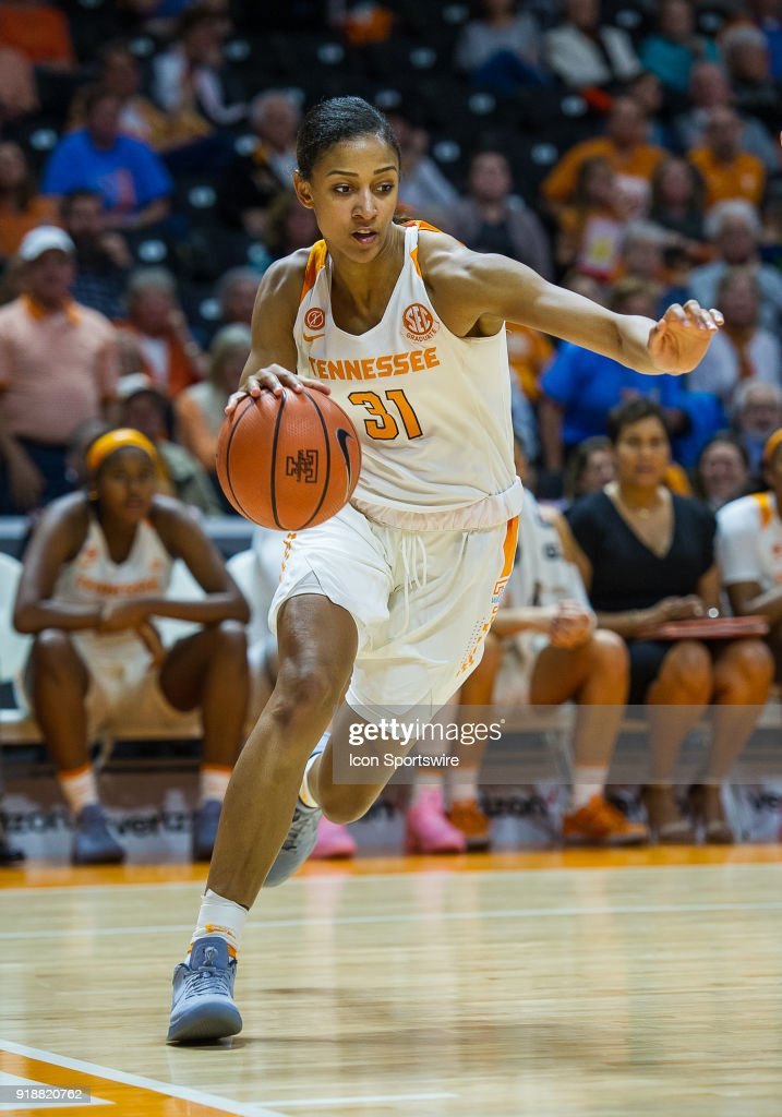 Tennessee Lady Volunteers guard/forward Jaime Nared (31) drives along the baseline during a game between the Tennessee Lady Volunteers and Alabama Crimson Tide on February 15, 2018, at Thompson-Boling Arena in Knoxville, TN. Alabama defeated the Lady Vols 72-63.