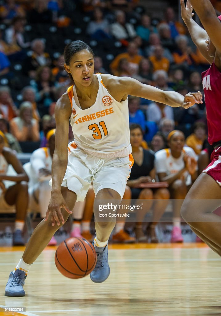 Tennessee Lady Volunteers guard/forward Jaime Nared (31) drives the baseline during a game between the Tennessee Lady Volunteers and Alabama Crimson Tide on February 15, 2018, at Thompson-Boling Arena in Knoxville, TN. Alabama defeated the Lady Vols 72-63.