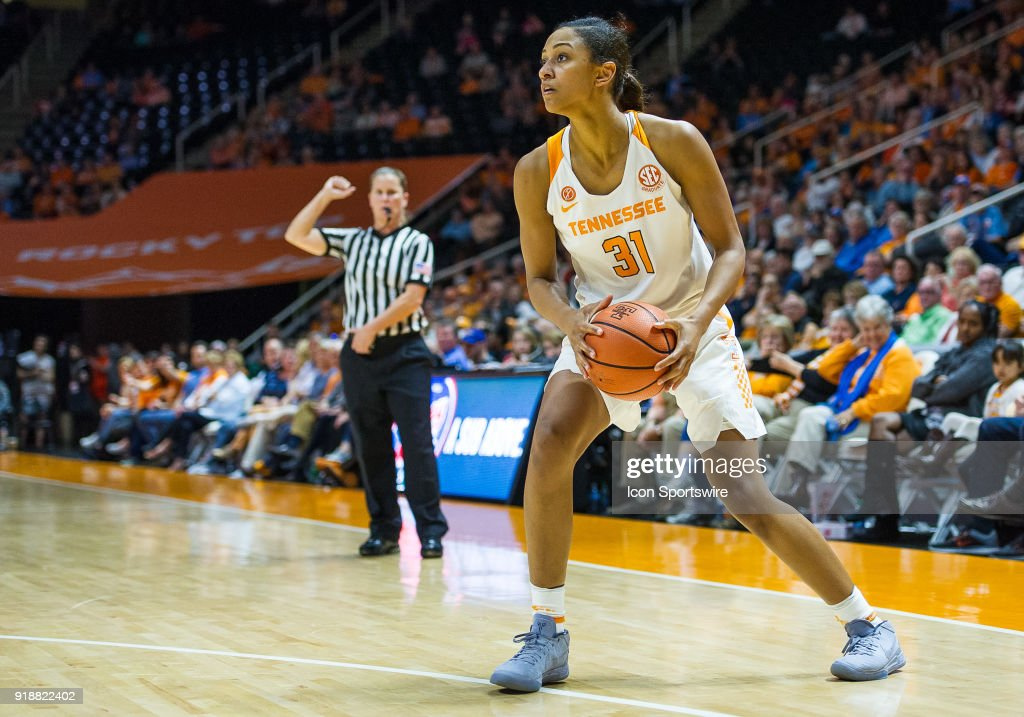 Tennessee Lady Volunteers guard/forward Jaime Nared (31) sets up for a shot during a game between the Tennessee Lady Volunteers and Alabama Crimson Tide on February 15, 2018, at Thompson-Boling Arena in Knoxville, TN. Alabama defeated the Lady Vols 72-63.