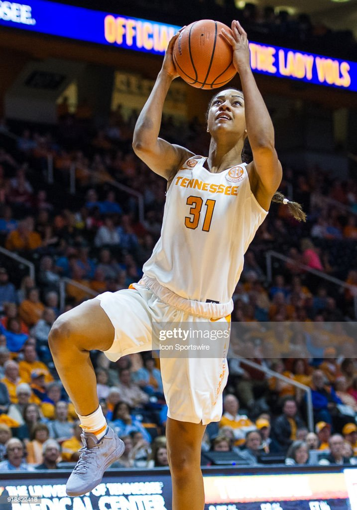 Tennessee Lady Volunteers guard/forward Jaime Nared (31) takes a shot during a game between the Tennessee Lady Volunteers and Alabama Crimson Tide on February 15, 2018, at Thompson-Boling Arena in Knoxville, TN. Alabama defeated the Lady Vols 72-63.