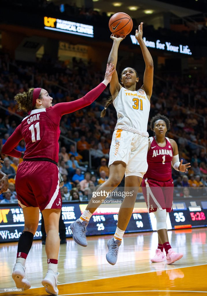 Tennessee Lady Volunteers guard/forward Jaime Nared (31) takes a shot over Alabama Crimson Tide guard Hannah Cook (11) during a game between the Tennessee Lady Volunteers and Alabama Crimson Tide on February 15, 2018, at Thompson-Boling Arena in Knoxville, TN. Alabama defeated the Lady Vols 72-63.