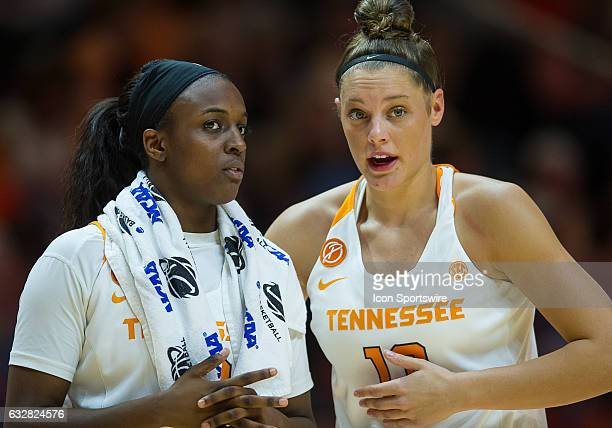 Tennessee Lady Volunteers guard/forward Kortney Dunbar and guard Meme Jackson talk at halftime during a game between the Vanderbilt Commodores and...