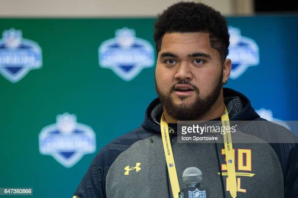 Tennessee offensive lineman Damien Mama answers questions from the podium during the NFL Scouting Combine on March 2 2017 at Lucas Oil Stadium in...