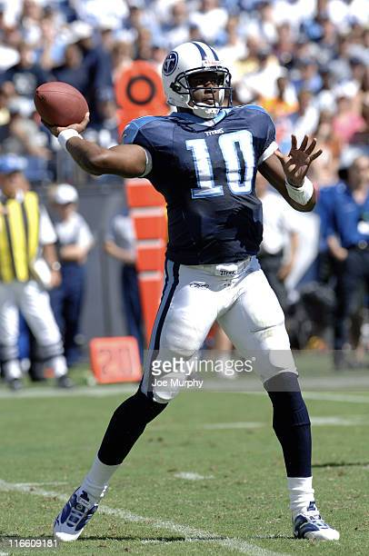 Tennessee rookie quarterback Vince Young throws a pass versus Dallas at LP Field Nashville Tennessee October 1 2006