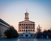 The pillars and building of Tennessee state house in nashville