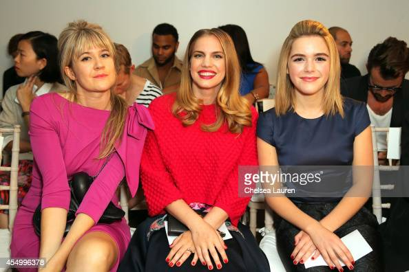 Tennessee Thomas Anna Chlumsky and Kiernan Shipka attend the Zac Posen fashion show during MercedesBenz Fashion Week Spring 2015 on September 8 2014...