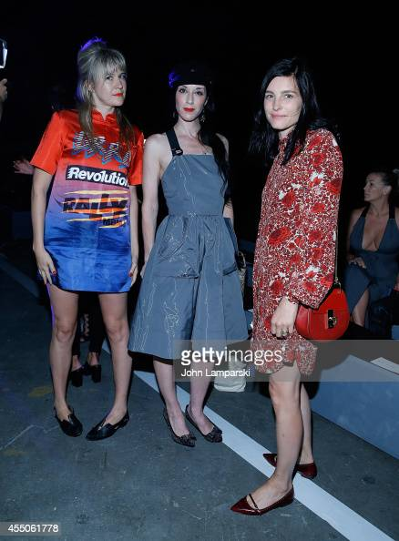 Tennessee Thomas Sarah Sophie Flicker and Tabitha Simmons attend Marc By Marc Jacobs during MercedesBenz Fashion Week Spring 2015 at Pier 94 on...