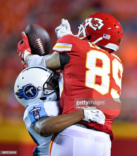 Tennessee Titans cornerback D'Joun Smith is called for defensive pass interference on a 16yard pass to Kansas City Chiefs tight end Gavin Escobar in...