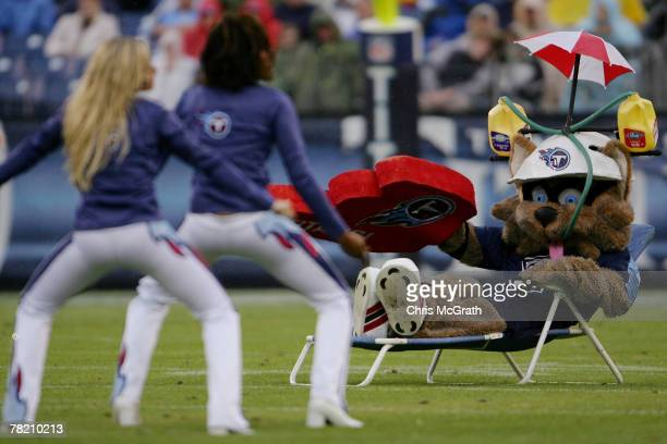 Tennessee Titans mascot T Rac watches the Titans cheerleaders as they perform during their game against the Houston Texans on December 02 2007 at LP...