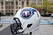 Tennessee Titans NFL football helmet is on display in Pioneer Court to commemorate the NFL Draft 2015 in Chicago on April 30 2015 in Chicago Illinois