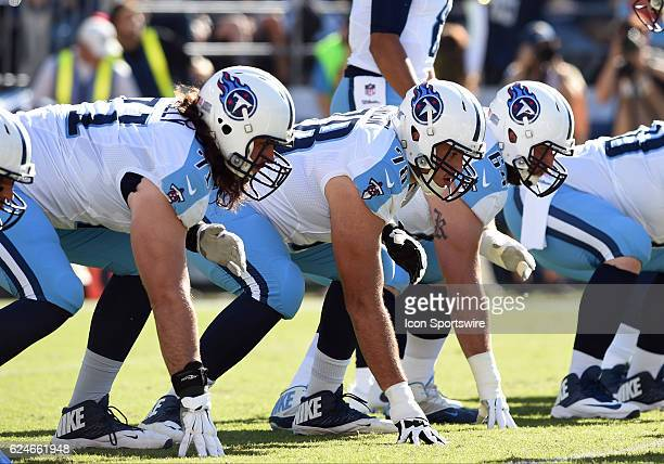 Tennessee Titans Offensive Tackle Dennis Kelly Tennessee Titans Offensive Tackle Jack Conklin and Tennessee Titans Offensive Guard Josh Kline set up...