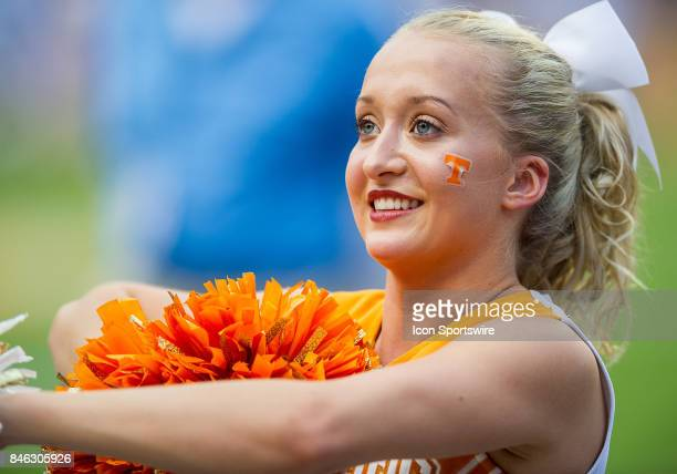 Tennessee Volunteers cheerleader Jessie Castle cheers during a game between the Indiana State Sycamores and Tennessee Volunteers on September 9 at...