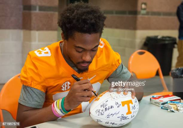 Tennessee Volunteers defensive back Evan Berry signing autographs before Tennessee's Orange and White spring game on April 22 2017 at Neyland Stadium...
