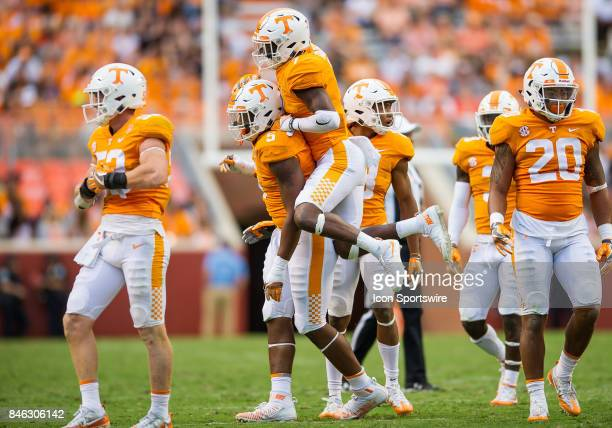 Tennessee Volunteers defensive back Rashaan Gaulden and defensive lineman Kyle Phillips celebrate during a game between the Indiana State Sycamores...