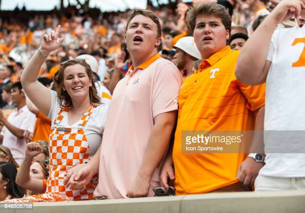 Tennessee Volunteers fans celebrate during a game between the Indiana State Sycamores and Tennessee Volunteers on September 9 at Neyland Stadium in...
