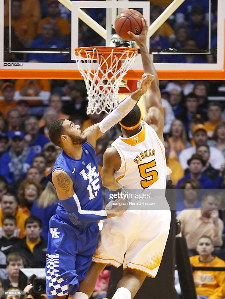 Tennessee Volunteers forward Jarnell Stokes (5) scores over Kentucky Wildcats forward Willie Cauley-Stein (15) during game action at Thompson-Boling Arena in Knoxville, Tennessee, Saturday, February 16, 2013. Tennessee defeated Kentucky, 88-58.
