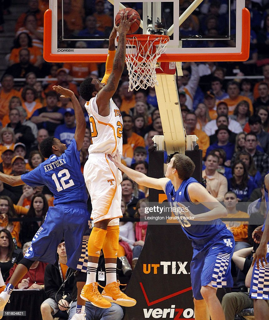 Tennessee Volunteers forward Kenny Hall (20) dunks over Kentucky Wildcats forward Kyle Wiltjer (33) for two of his 12 points at Thompson-Boling Arena in Knoxville, Tennessee, Saturday, February 16, 2013. Tennessee defeated Kentucky, 88-58.
