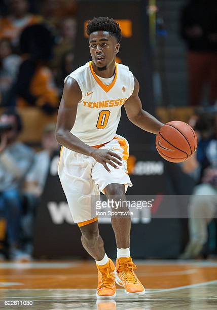 Tennessee Volunteers guard Jordan Bone brings the ball up the court during a game between the Chattanooga Mocs and Tennessee Volunteers on November...