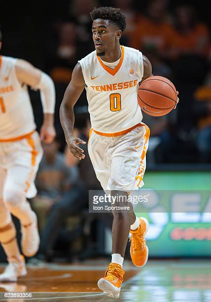 Tennessee Volunteers guard Jordan Bone dribbles the ball up the court during a game between the Appalachian State Mountaineers and Tennessee...