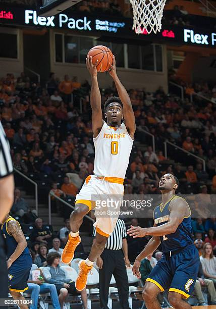 Tennessee Volunteers guard Jordan Bone drives for a layup during a game between the Chattanooga Mocs and Tennessee Volunteers on November 11 at...