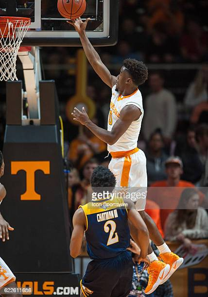 Tennessee Volunteers guard Jordan Bone drives to the basket during a game between the Chattanooga Mocs and Tennessee Volunteers on November 11 at...