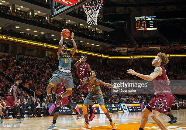 Tennessee Volunteers guard Jordan Bone drives to the basket during a game between the South Carolina Gamecocks and Tennessee Volunteers on January 11...