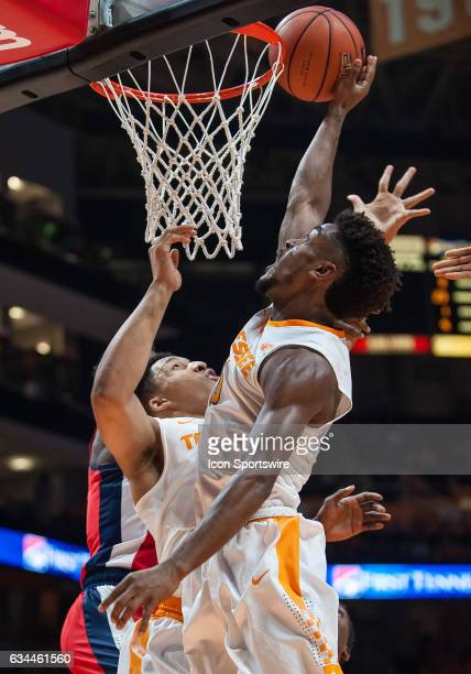 Tennessee Volunteers guard Jordan Bone drives to the basket during a game between the Ole Miss Rebels and Tennessee Volunteers on February 8 at...