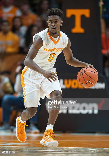 Tennessee Volunteers guard Jordan Bone pushes the ball up the court during a game between the Chattanooga Mocs and Tennessee Volunteers on November...