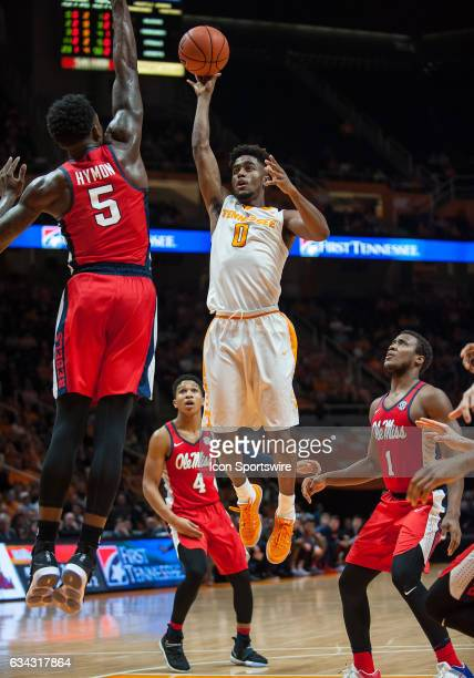 Tennessee Volunteers guard Jordan Bone shooting over Ole Miss Rebels forward Marcanvis Hymon during a game between the Ole Miss Rebels and Tennessee...