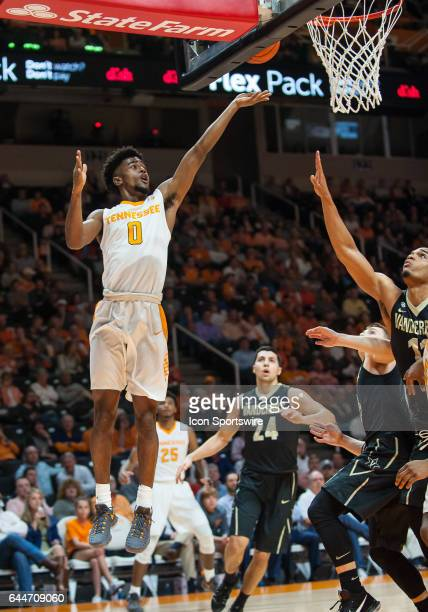 Tennessee Volunteers guard Jordan Bone shoots a lay up during a game between the Vanderbilt Commodores and Tennessee Volunteers on February 22 at...