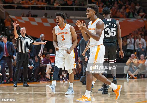 Tennessee Volunteers guard Robert Hubbs III and guard Jordan Bone celebrate during a game between the Mississippi State Bulldogs and Tennessee...