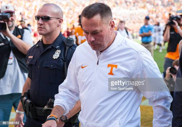 Tennessee Volunteers head coach Butch Jones walks off after a game between the Tennessee Volunteers and South Carolina Gamecocks on October 14 at...
