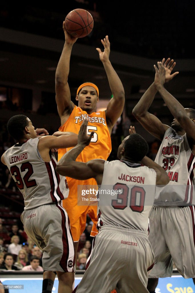 Tennessee Volunteers' Jarnell Stokes attempts a shot against the South Carolina Gamecocks at the Colonial Life Arena in Columbia, South Carolina, Sunday, February 10, 2013.