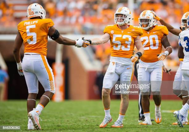 Tennessee Volunteers linebacker Colton Jumper celebrates with defensive lineman Kyle Phillips during a game between the Indiana State Sycamores and...