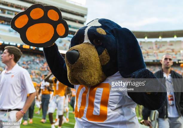 Tennessee Volunteers mascot Smokey cheering during a game between the Indiana State Sycamores and Tennessee Volunteers on September 9 at Neyland...