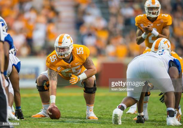 Tennessee Volunteers offensive lineman Coleman Thomas playing center during a game between the Indiana State Sycamores and Tennessee Volunteers on...