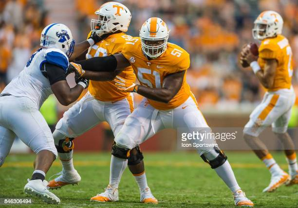 Tennessee Volunteers offensive lineman Drew Richmond blocking during a game between the Indiana State Sycamores and Tennessee Volunteers on September...