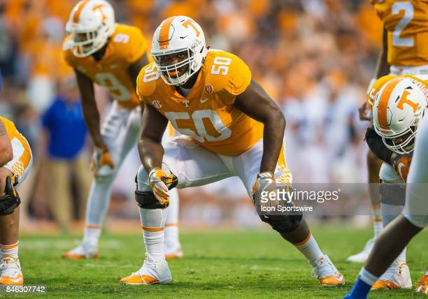 Tennessee Volunteers offensive lineman Venzell Boulware blocking during a game between the Indiana State Sycamores and Tennessee Volunteers on...