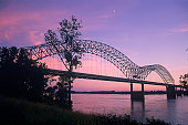 Tennessee-Arkansas Bridge at dusk w/ Mississippi River, Memphis, Tennessee,