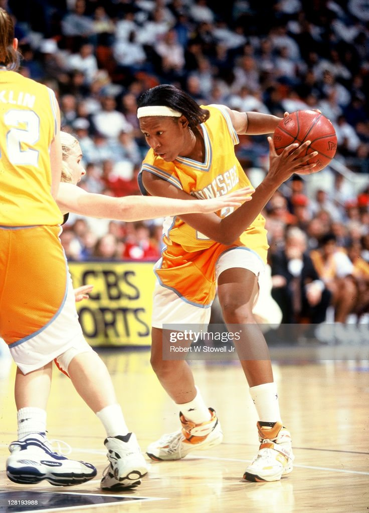 Tennessee's Chamique Holdsclaw prepares to make a move vs UConn Hartford CT 1994