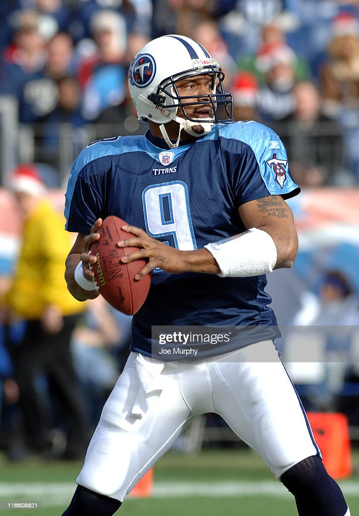 Tennessee's Steve McNair looks to throw downfield during first half versus Seattle at The Coliseum in Nashville Tennessee Dec 18 2005