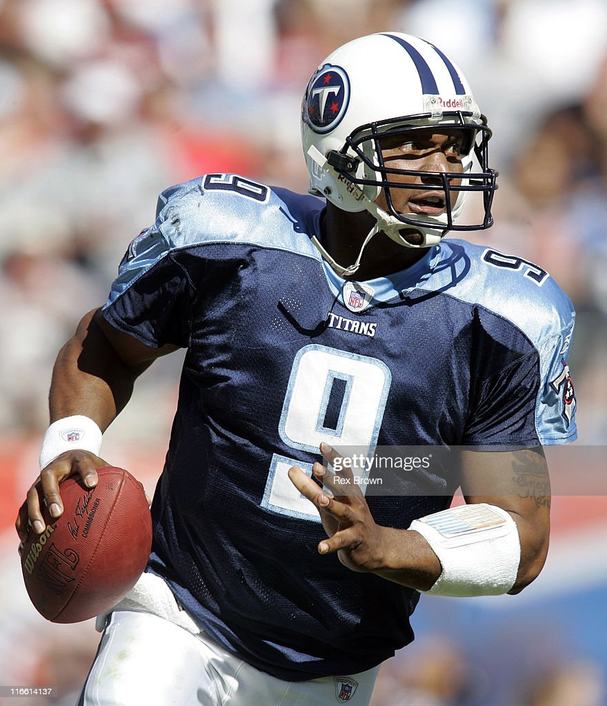 Tennessee's Steve McNair rolls out against Cincinnati Oct 16 at the Coliseum in Nashville Tennessee The Bengals defeated Tennessee 3123