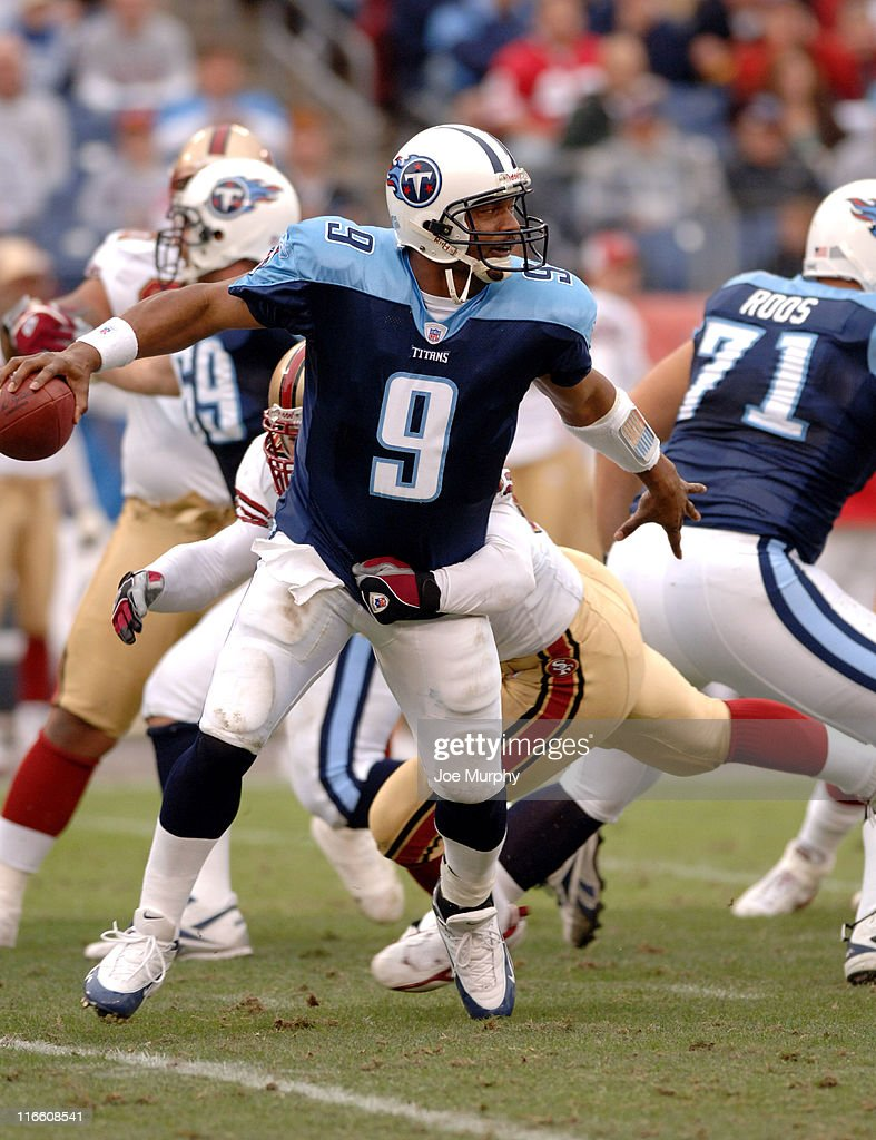 Tennessee's Steve McNair tries to avoid the sack versus San Francisco at the Coliseum in Nashville Tennessee Nov 27 2005